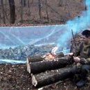 Winter survival: super shelter + all night long fire