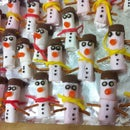 Decorated dessert - marshmallow snowmen