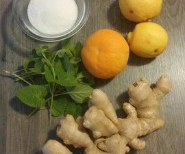 Ginger, lemon,orange and mint syrup