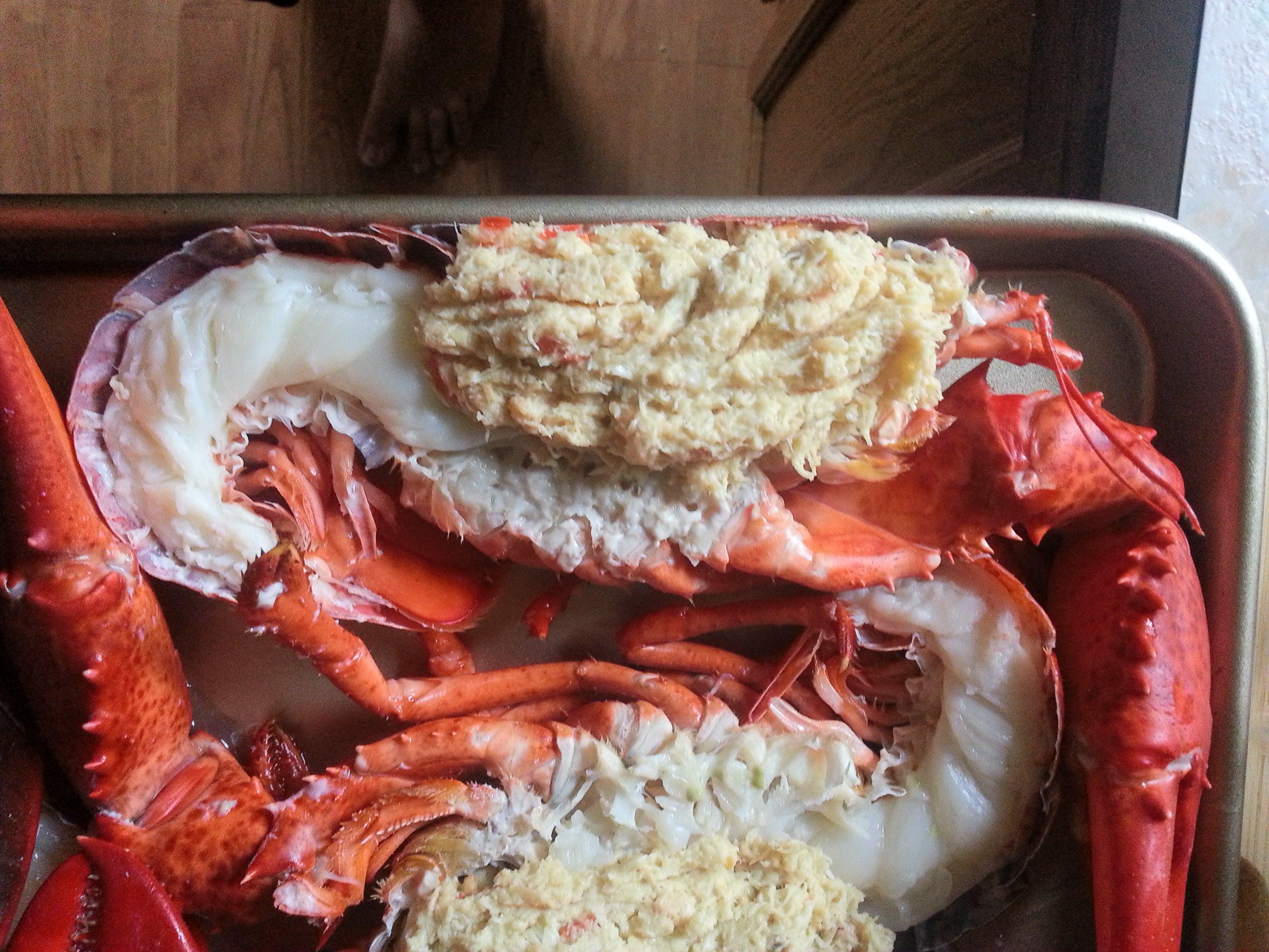 Split Crabcake Stuffed Lobster