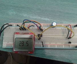 Attiny85 5110LCD DS18B20 Thermometer