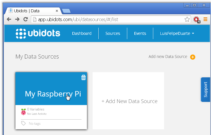 """Picture of Now Click on the New Source """"My Raspberry Pi"""""""