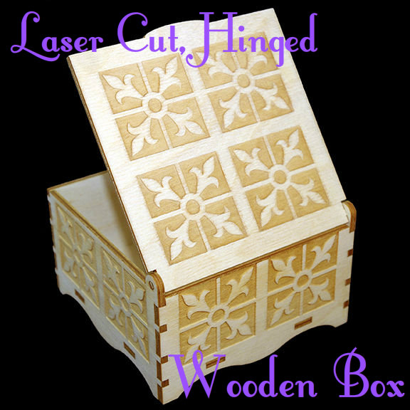 "Picture of Laser Cut Hinged Wooden Box (4""x4"")"