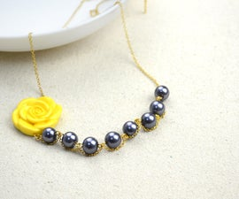 pearl necklaces with an adorable acrylic flower