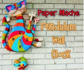 Paper Mache Clock With Pendulum