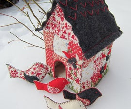 Quilted Bird House with Toy Bird Rattles