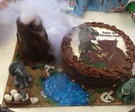 Edible Erupting Volcano Scene and Dinosaur Cake