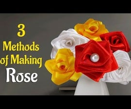 DIY Flowers: Learn How to Make 3 Methods Satin Ribbon Rose.