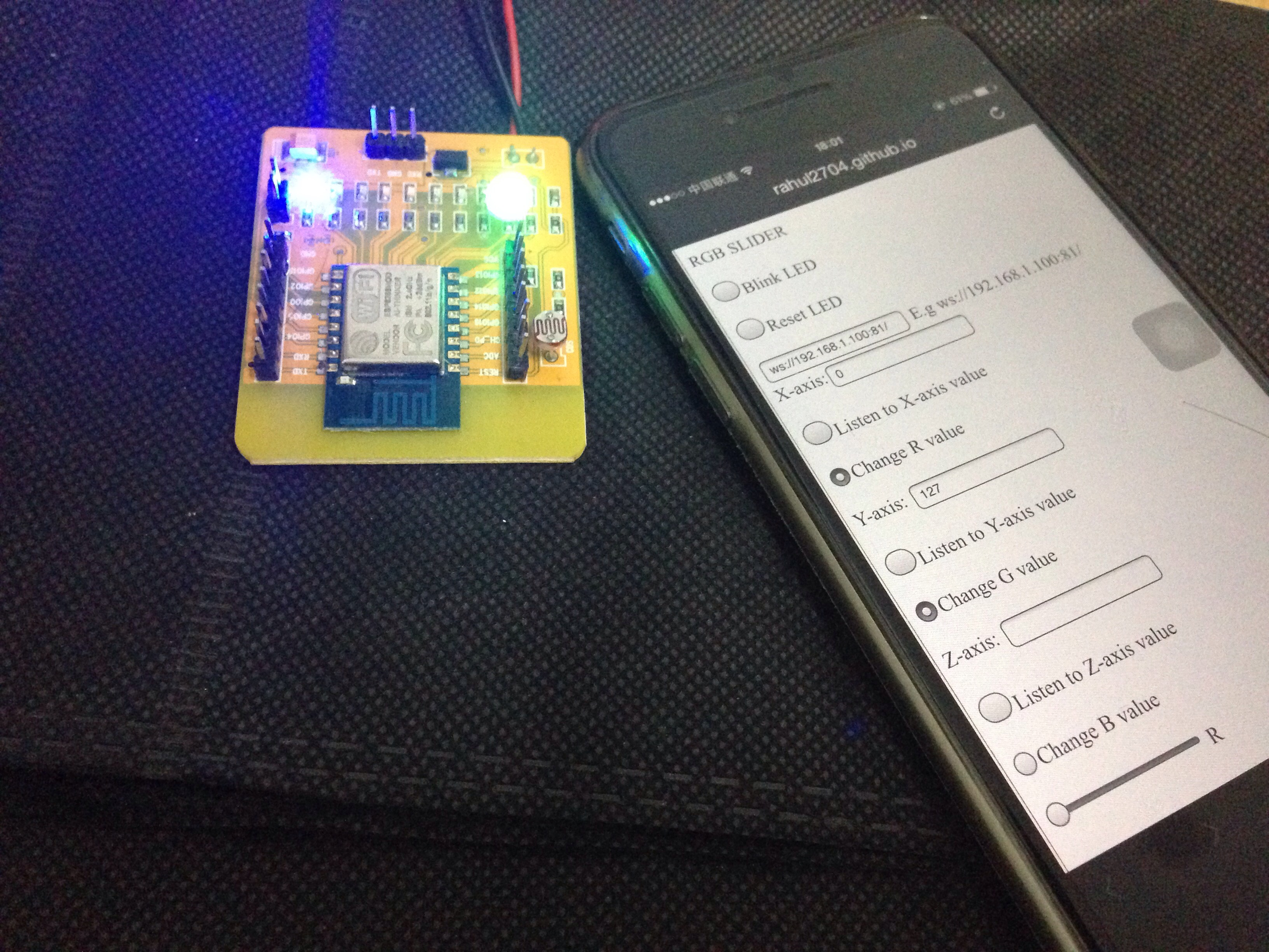 Picture of ESP8266+Websocket Server RGB LED Controller