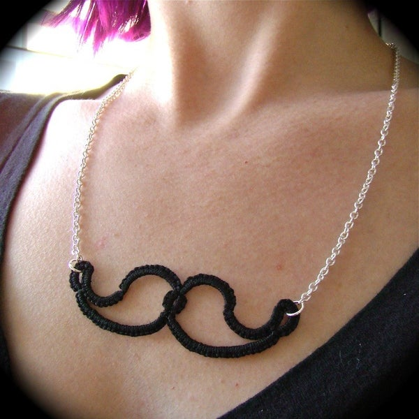 Tatted Mustache Necklace