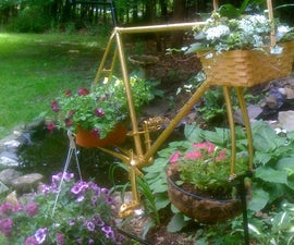Bicycle frame recycled as plant hanger
