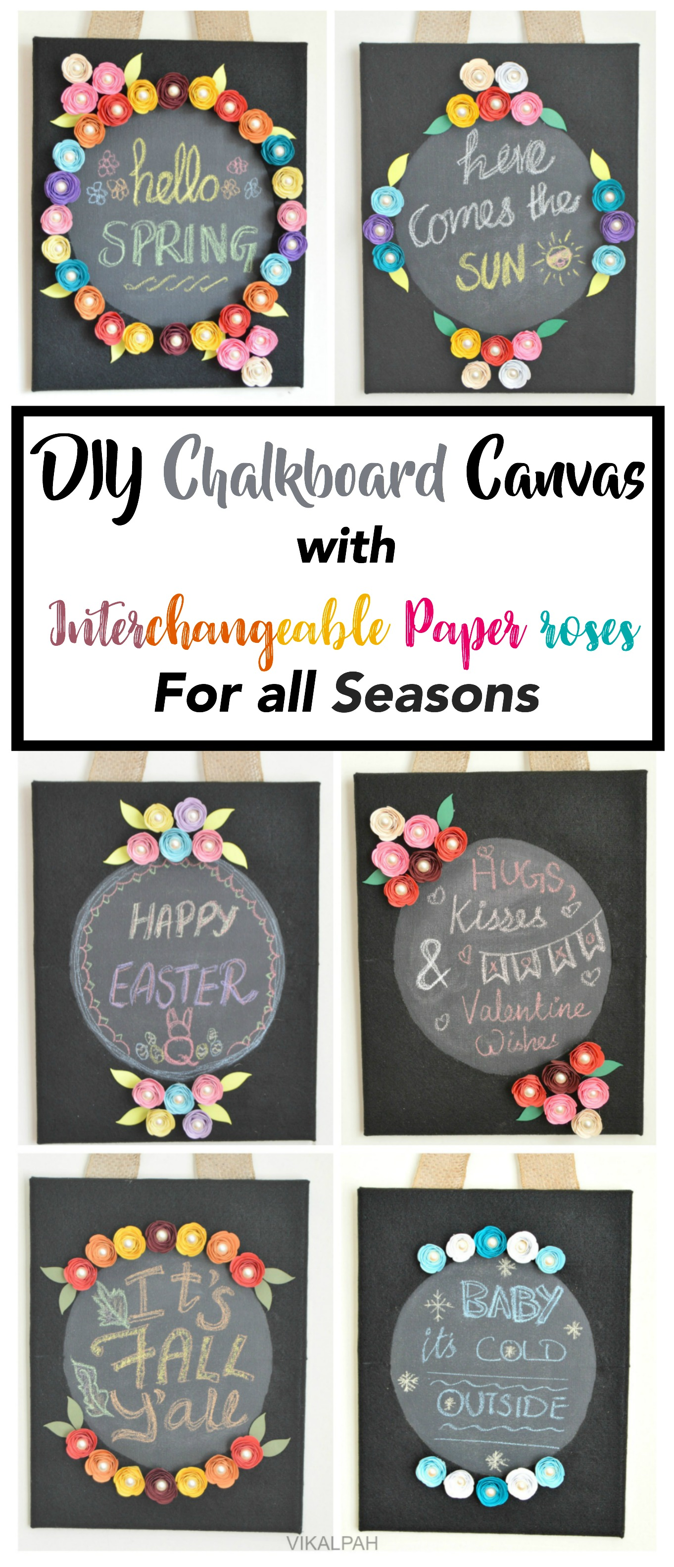 Picture of DIY Chalkboard Canvas With Interchangeable Paper Roses for All Seasons