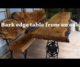 树皮边缘橡木桌 - 非常容易和凉爽