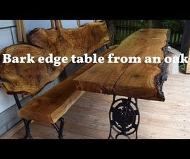Bark Edge Oaken Table - Very Easy and Cool Looking