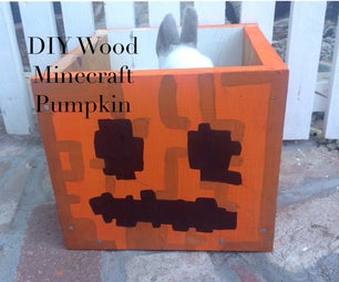 Wood Minecraft Jack O Lantern Candy Box Decoration