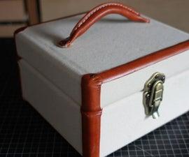 Vintage Style Keepsake Box in Canvas & Leather