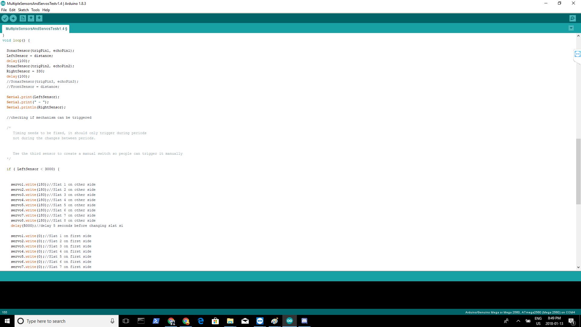 Picture of Program Main Code and Senor Code