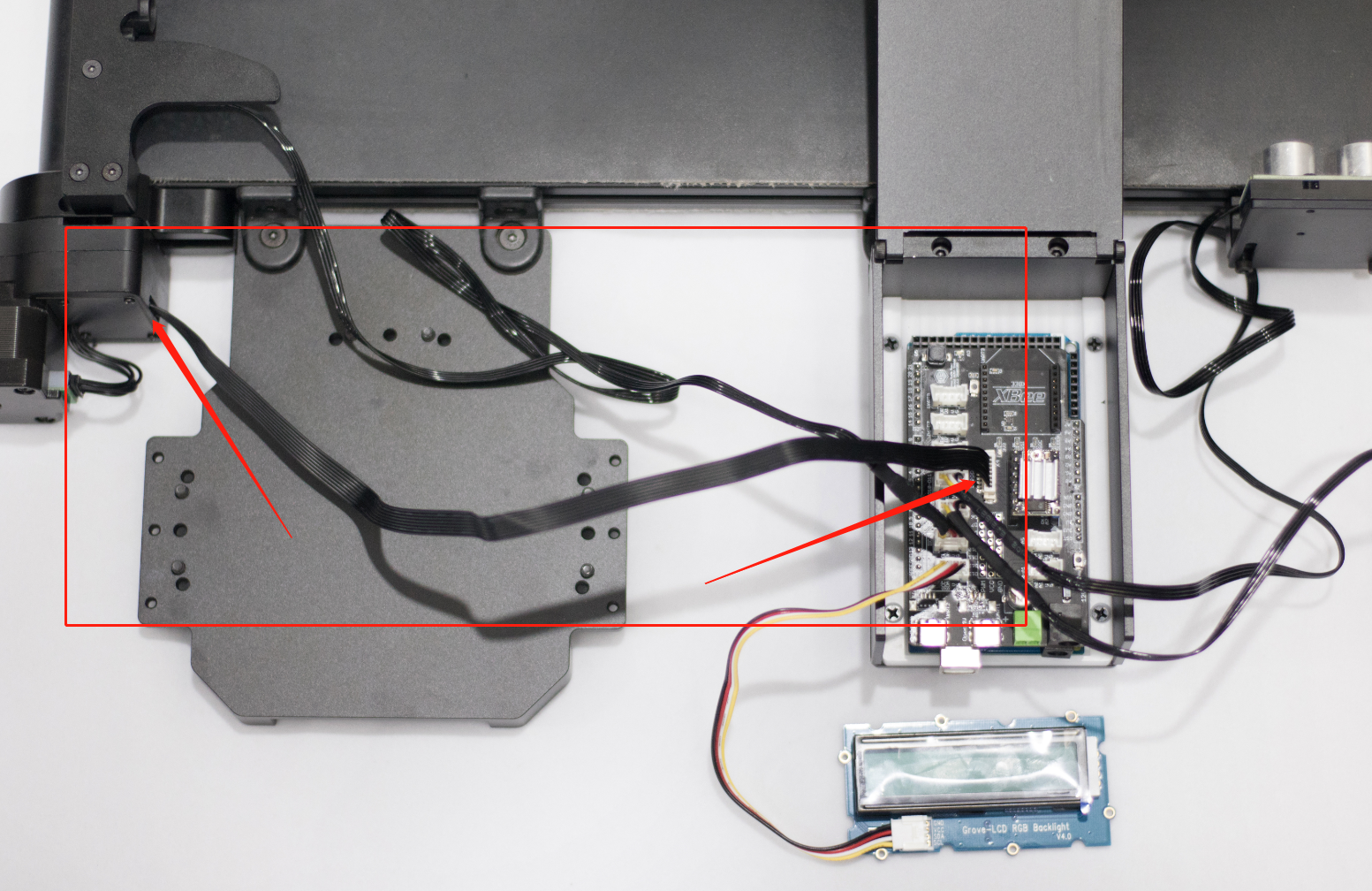 Picture of Connect Conveyor Belt: Insert the Conveyor Belt Cord Into the Motor Drive of the Main Control Board