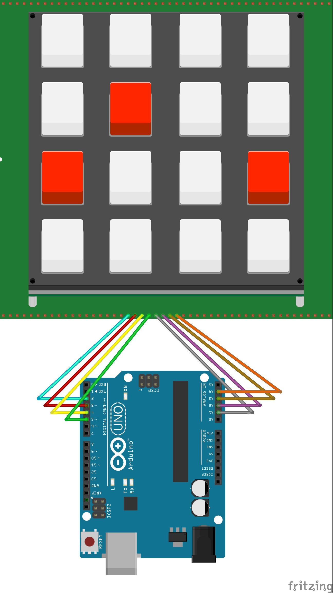 Picture of Connecting the Keypad to the Arduino