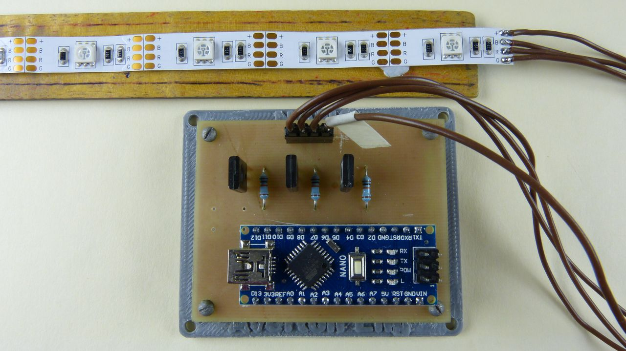 Picture of Connect LED Strip, Program the Nano and Add to Board