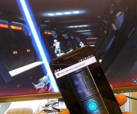 Turn Smartphone into Lightsaber console for Lighsaber Escape game