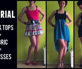 1 MIN TUTORIAL | Create 3 Dresses Using 3 Tank Tops