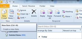 Picture of Once in Outlook, Click on 'new E-mail'