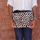 Oversized Foldover Faux Fur Clutch Purse