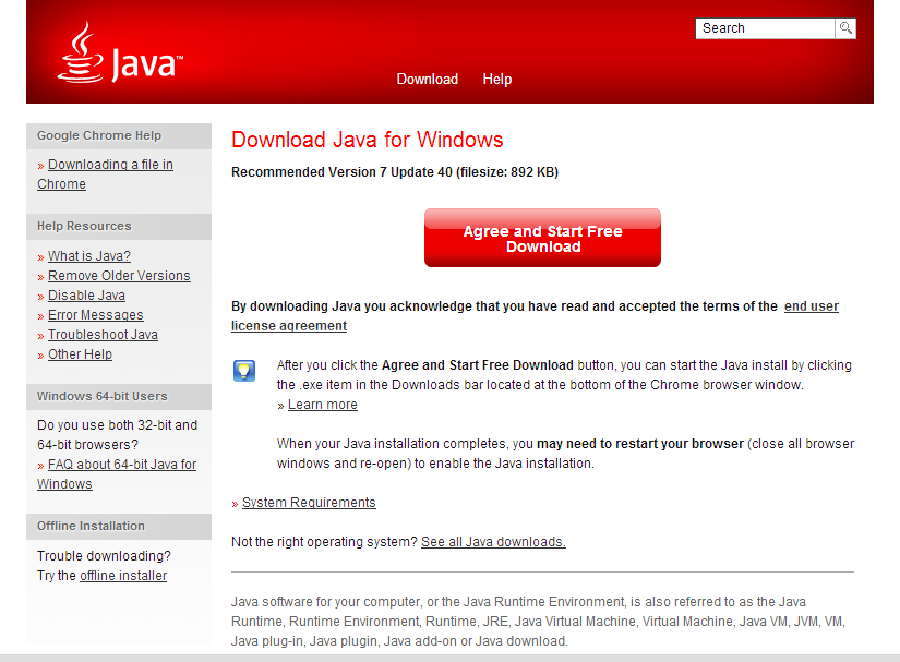 Picture of Installing Java