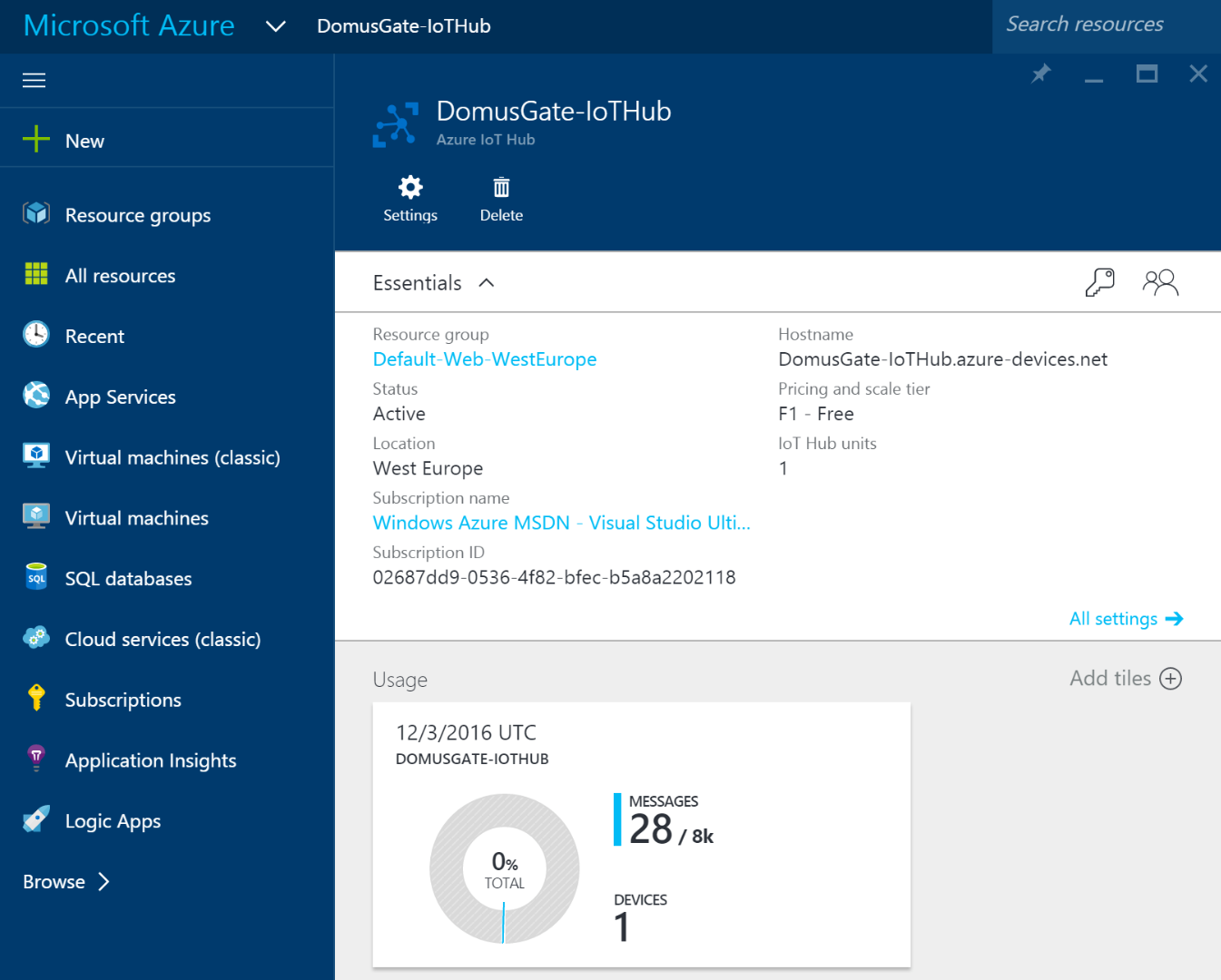Picture of Create an Azure IoT Hub
