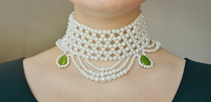 Picture of Pandahall Tutorial on How to Make Chic Pearl Bead Choker Necklace With Jade Beads
