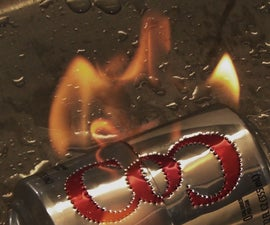 Making a fire symbol out of an alcohol burning stove