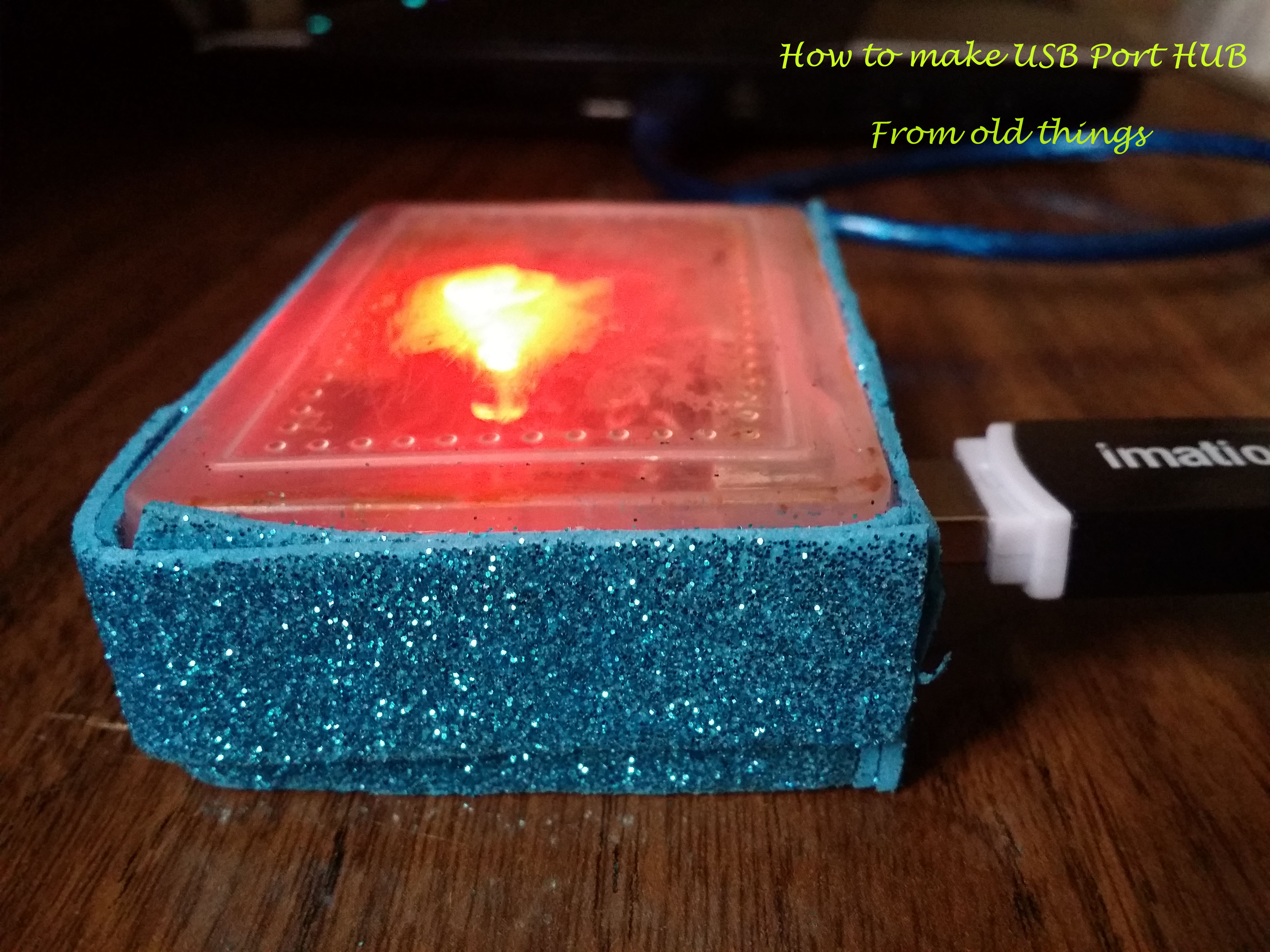 Picture of How to Make a Nice USB 3-Port Hub From Old Plastic Box