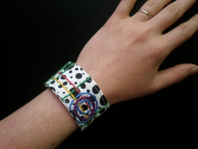 Embroidered Fabric Cuff Bracelet