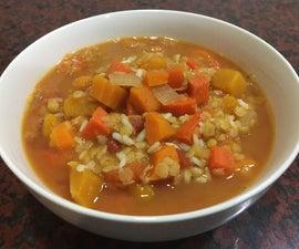 慢炖锅胡萝卜和南瓜汤