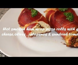 Hot Smoked Ham Wrap Pizza Rolls With Goat Cheese, Olives , Jalapenos & Sundried Tomatoes Recipe
