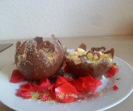 sugar glitters and choclate bowls borderd with sugar glitters: