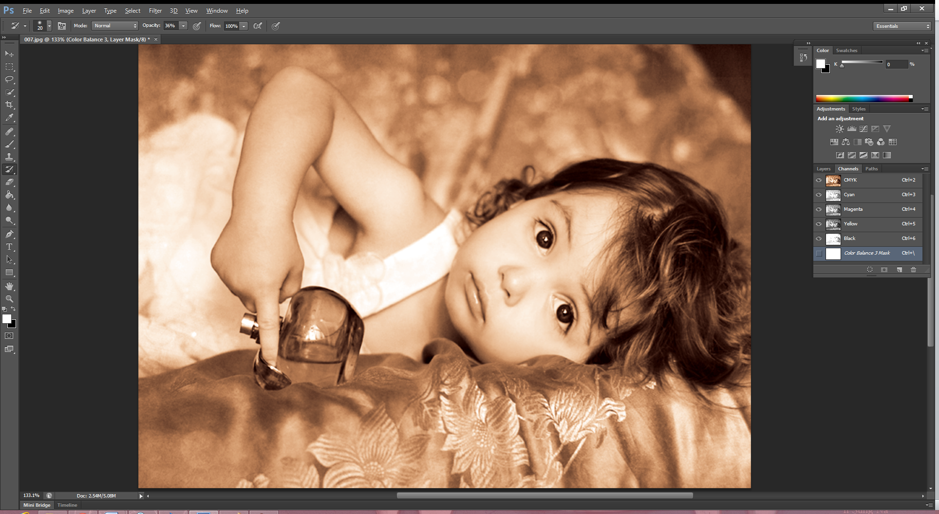 Picture of Open Color/Balance Window Again and Set New Parameters.