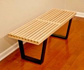 DIY Mid-Century Modern Slatted Bench