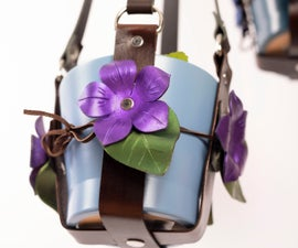 Decorated Flower Leather Plant Hanger.