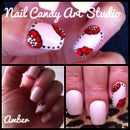 Pink with Red flowers nail art design