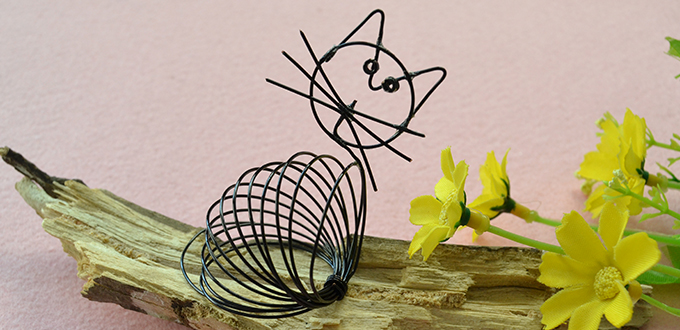 Picture of How to Make a Cute Black Wire Wrapped Cat Craft for Kids
