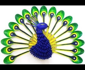 DIY Room Decor : How to Make a Peacock from Plastic Spoon