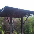 The wooden garden roof