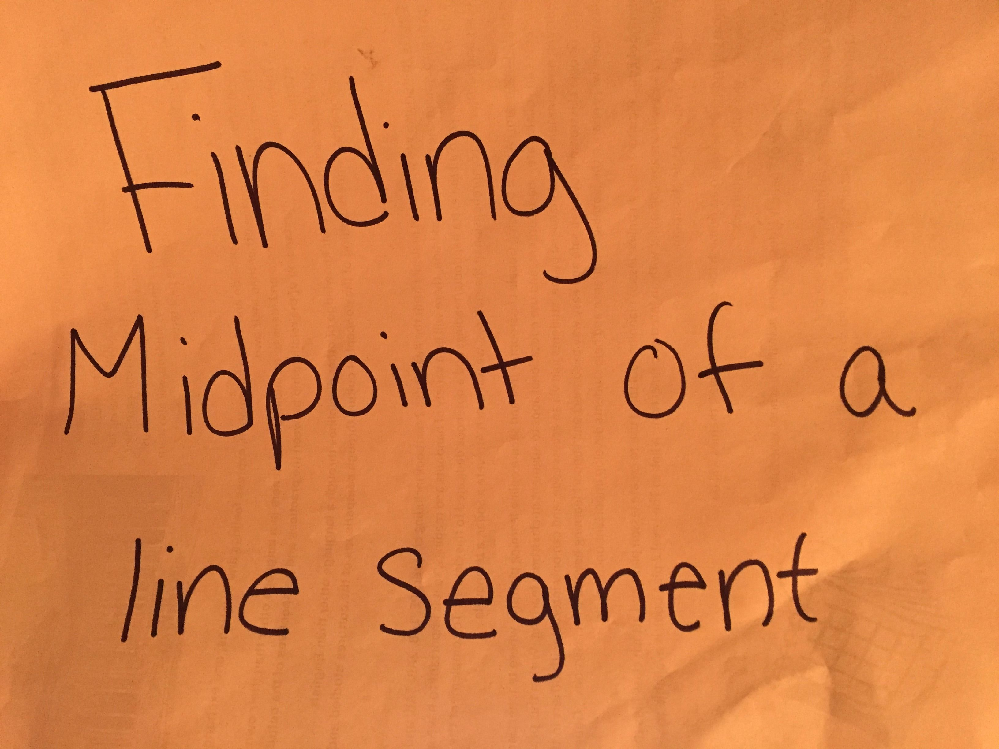 Picture of Finding Midpoint of a Line Segment