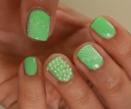 Mint Pearls & Lace Nails