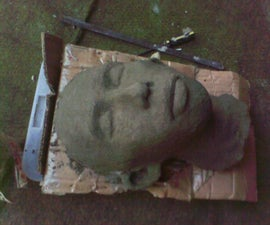 Your own concrete head statue (using paper mold)