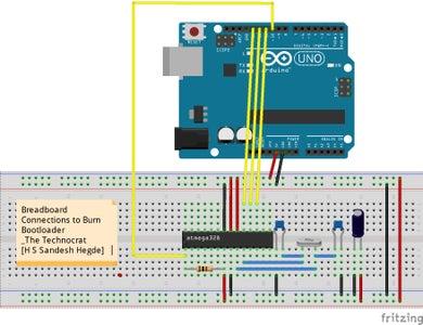 Make Circuit to Burn Boot Loader Onto ATmega 328P-PU