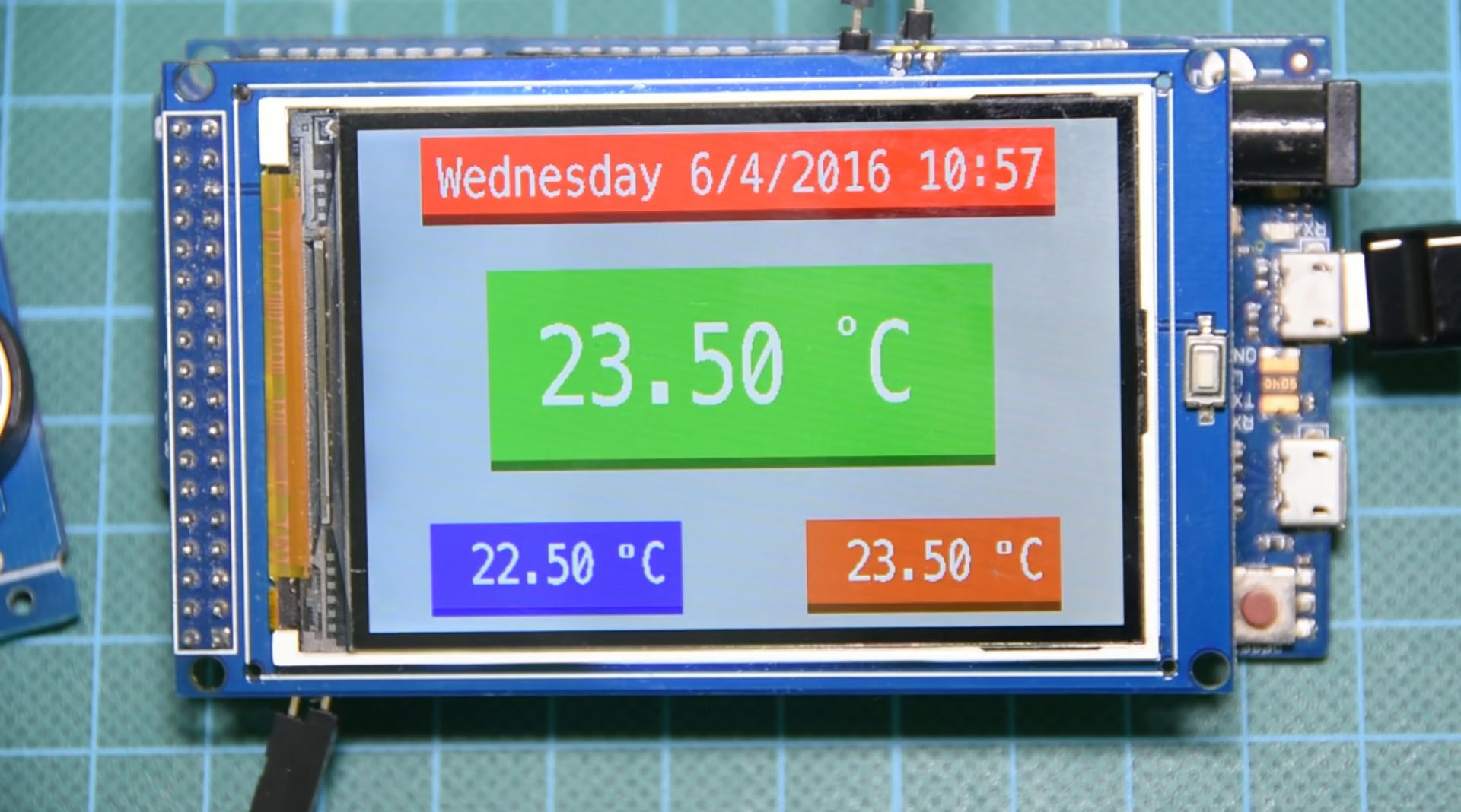 """Picture of Arduino Temperature Monitor and Real Time Clock With 3.2"""" Display"""