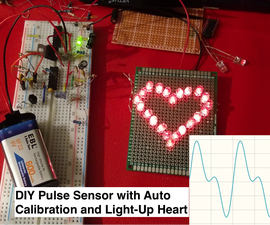 PulseFit - DIY Heart Sensor with Auto-Adjusted Threshold and Heart-Shaped LED Heartbeat Indicator